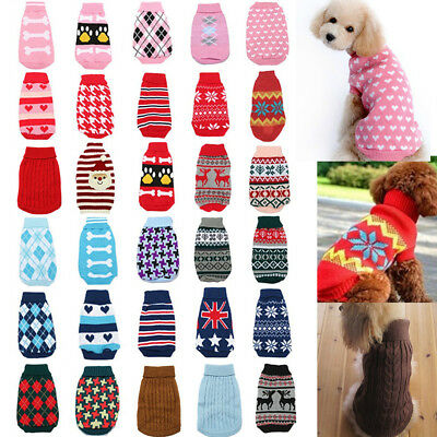 Dog Pet Cat Warm Jumper Sweater Clothes Knitwear Costume Winter Coat Apparel