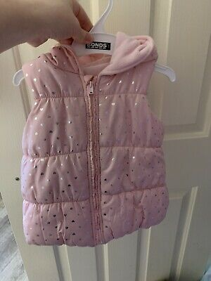 Lc Waikiki Puffer Vest Pink With Hood Size 2 Girls