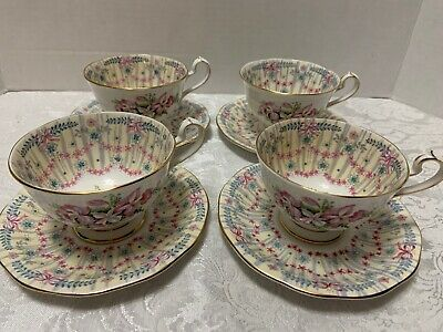 4 Royal Bridal Gown TEA CUPS & SAUCERS Queen Anne England 1950s Orchids Bows In