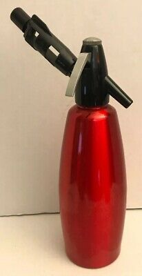 Red isi Soda Siphon Seltzer Bottle 1L One Liter w/ Bulb Charger Holder Bar Ware