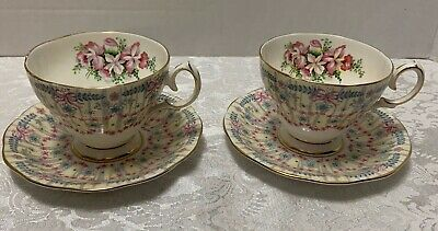 2 Royal Bridal Gown TEA CUPS & SAUCERS Queen Anne England 1950s Orchids Bows