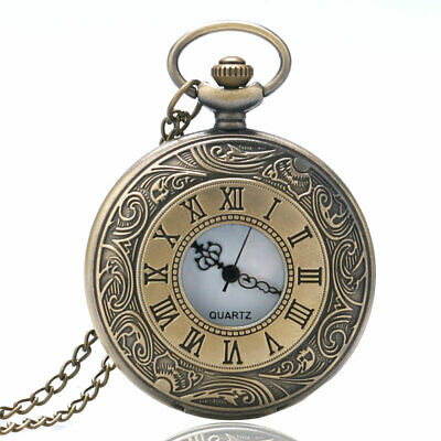 Engarve Roman Number Pocket Watch Men Women Fob Watch with Necklace Chain