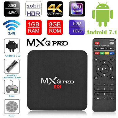 MXQ PRO 4K QuadCore WiFi K 3D Smart TV Box Media Player Android 7.1 AU HDMI 2019