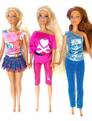 New barbie doll clothes clothing sets set of 3 outfits pants tops dress casual