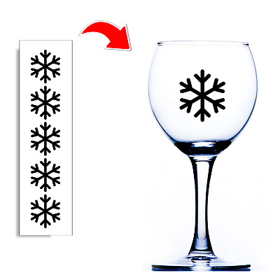 8 Snowflakes Christmas Wine Champagne Beer Glass Vinyl Sticker Decal DIY 0279