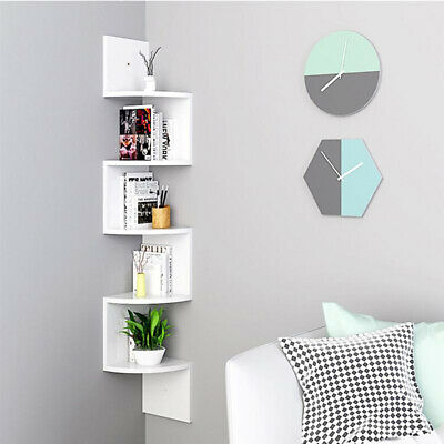 2 / 3 / 5 Tier Floating Wall Shelves Corner Shelf Storage Display Bookcase