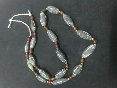 Rare Roman Ancient Afghan Agate Jade Stone Antique Strand Bead Line Intaglio