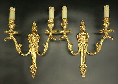 Large Pair Of Sconces, Woman's Face, Louis Xv Style - Bronze - French Antique