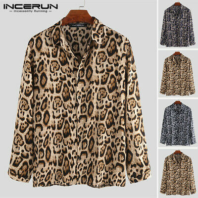 NEW Fashion Men's Leopard Printed Shirt Party Formal Collar Hippy Blouse Tops