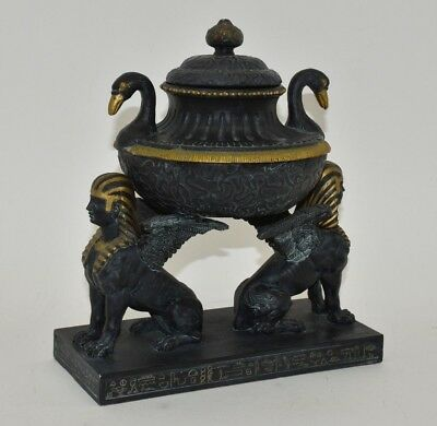 Egyptian Sphinx Summit Collection Urn- Winged- Urn- Box- Gilt- Relief- Bust-Lion