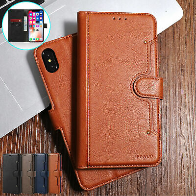 iPhone 11 6 7 8 Plus Xs Xr Deluxe Flip Leather Magnetic Stand Wallet Phone Cover
