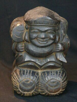 Antique Japanese Shinto deity wood carving 1890's Daikoku prosperity god