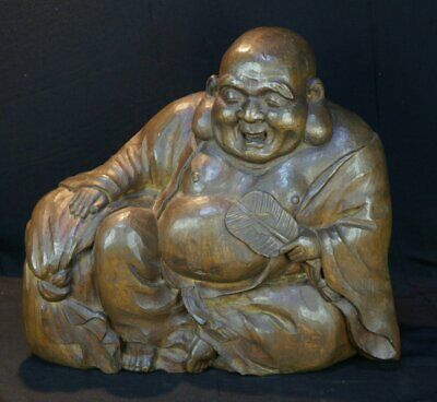Antique Japan wood carving sculpture Hotei Shinto deity 1890s Japanese craft