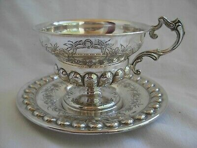 ANTIQUE FRENCH STERLING SILVER TEA CUP & SAUCER,LOUIS 15 STYLE,LATE 19th CENTURY