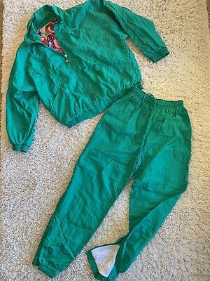 Vintage Casual Isle Windbreaker L Track Suit Jacket Pants Set Purple Teal Pink