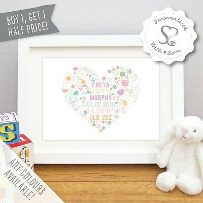 Personalised New Baby Gift Birth Details Woodland Heart Art Print Christening