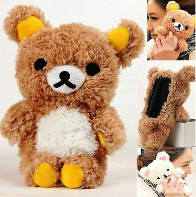 For iPhone 11 Pro XS Max XR X 7 6 + 3D Doll Toy Plush Lucky Teddy Bear Warm Case