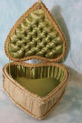 Stunning Heart-Shaped Antique Box with Green Silk Lining