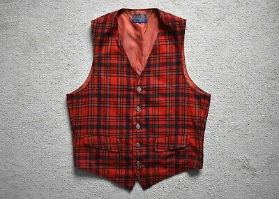 Vtg 50s 60s PENDLETON Red Tartan Plaid Wool Vest Waistcoat Jacket Western 38