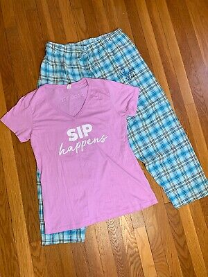 Steeped Tea Sipology Apparel Lot Size Xxl Sip Happens Tee And Logo Pajama Pants