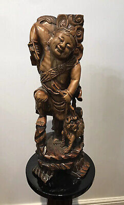 Late 19th Century Oriental Chinese Foo Man Sculpture Carved In Fruitwood