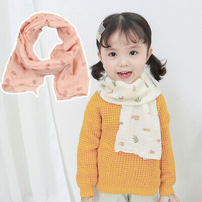Girls Child Kids Warm Cotton Floral Print Scarf Neckerchief Shawl Hijabs