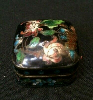 Chinese Cloisonne Enamel Pill Box Floral Flower  Enameled China