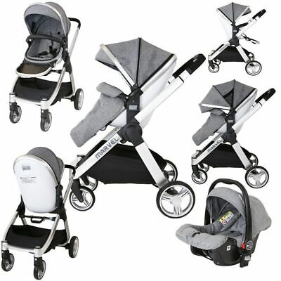 Marvel 2in1 Pram - Dove Grey Travel System (With Carseat)