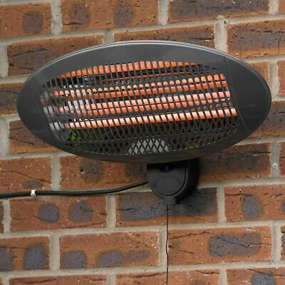 2Kw Electric Wall Mounted Quartz Heater Garden Patio Heating Indoor Outdoor