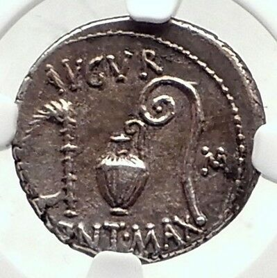 JULIUS CAESAR Authentic 46BC Ancient Silver Roman Coin THAPSUS BATTLE NGC i72402