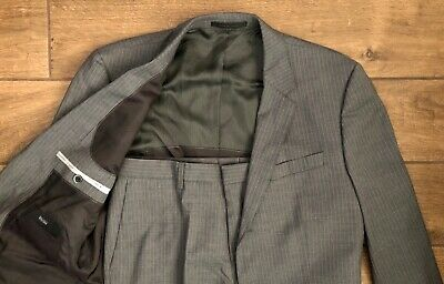 "Hugo Boss ""Havilton/Gense3"" Gray Wool Tonal Stripe Trim Fit Suit Men's Size 40 R"