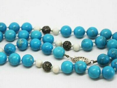 Vintage Chinese Turquoise Sterling Silver Filigree 10 mm Bead Necklace 23 1/4""