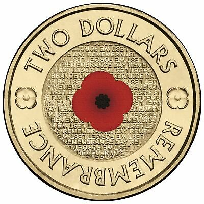 2012 Australia $2 Remembrance Day Red Poppy Coloured Uncirculated Coin- Ex Roll
