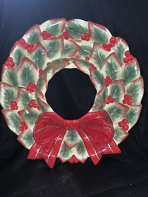 Fitz & Floyd Christmas Wreath Chip & Dip Bowl, Holly Leaves and Berries, in BOX