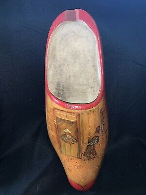 "Vintage Single Dutch Carved Wooden Painted Clog Shoe Holland, 16"", Hanging"
