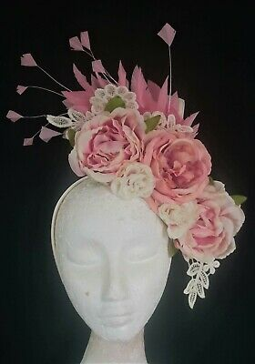 Light Pale Dusty Pink Cream Flower Feathers Fascinator Crown Headband Races