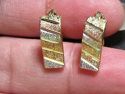 Pre-Owned 750 ( 18K ) 18 Karat Solid Gold Tricolor Earrings, English Clasp