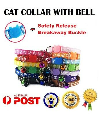 Breakaway Safety Quick Release Collar Adjustable Dog CAT Pet Puppy Kitten Bell