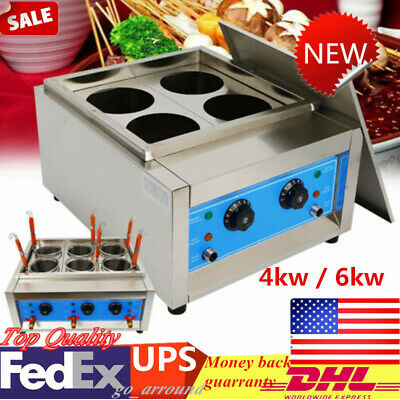 Commercial Electric Pasta Cooking machine Stainless Noodle Cooker 4 Baskets 4KW