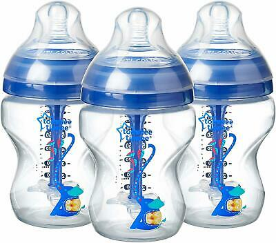 Tommee Tippee  Decorated 0m+ Anti-Colic Natural Breast Feeding Bottle, 260ml