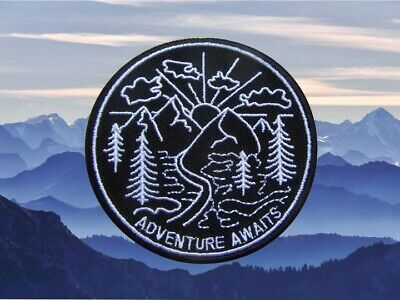 Mountain Embroidered Iron On Patch, Travel Adventure Nature Camping Hiking Badge