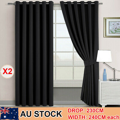 2X Blockout Curtains Thermal Blackout Eyelet Curtains Panels 3 Layer Pure Fabric