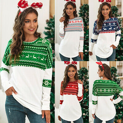 UK Womens Long Sleeve Jumper Sweatshirt Ladies Xmas Top Blouse T shirt Reindeer