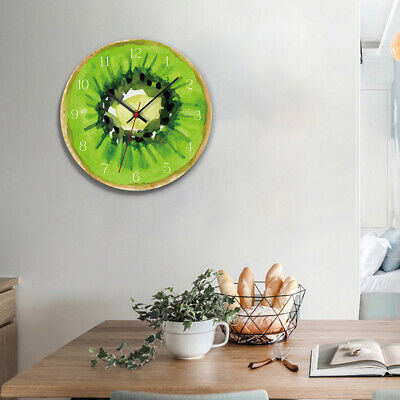 12Inch Wall Clock Acrylic Fruit Alarm Watch Hanging Kitchen Home Decor-Kiwi