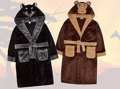 New Boys Novelty Animal Panther Robe Hooded Soft Fleece Dressing Gown Xmas Gift