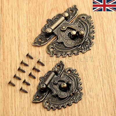 UK STOCK Antique Bronze EMSSossing Wooden Wine Jewelry Box Latch Clasp Hardware