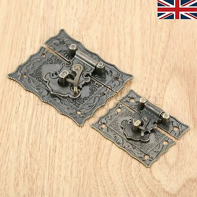 UK STOCK Antique Bronze Jewelry Wooden Case Chest Box Clasp Hasp Latch Rectangle