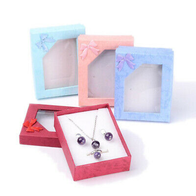 144× Mixed Rectangle Cardboard Jewelry Box 7x9cm Necklace Earring Ring Gift Case