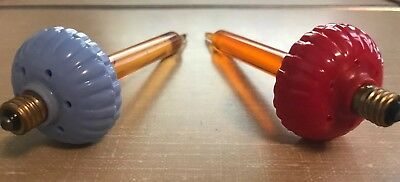 Vintage 2 Christmas Candle Bubble Lights Red and Blue