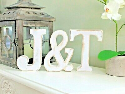 WHITE WOODEN LETTERS SHABBY CHIC VINTAGE 15cm TALL A-Z  ALPHABET